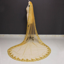 New Arrival Gold Wedding Veil One Layer Bling Sequins Lace 3 Meters Long Cathedral Bridal Veil Velo de Novia