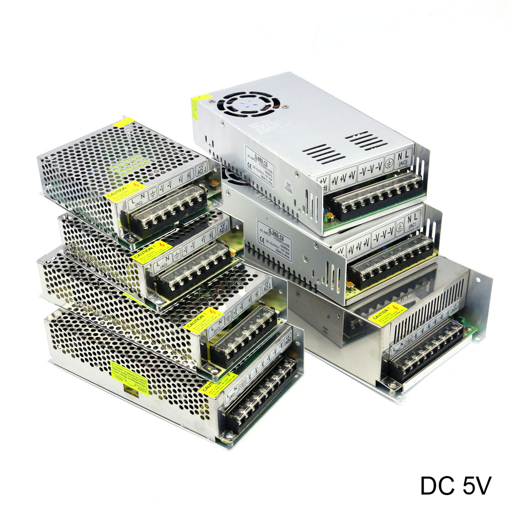 DC 5V Regulated Switching Power Supply 3A 5A 6A 10A 20A 30A 40A 60A 70A AC/DC 25W 50W 60W 100W 150W 200W 300W 350W Power Supply