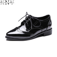 British Retro Oxford Shoes For Women Patent Leather Pointed Toe Flat Shoes Women Flats Brogues Women