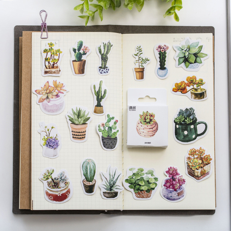 50PCS/box Cute Succulent Plants Diary Paper Lable Sealing Stickers Crafts And Scrapbooking Decorativ