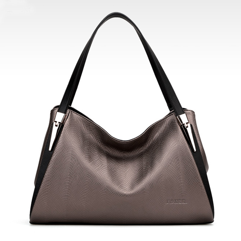 Genuine leather Tote bags for women Luxury large capacity Gold gray color