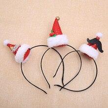Горячая Рождественская повязка на голову Санта Рождественские вечерние украшения двойная лента для волос застежка на голову обруч веселые украшения для рождества 0,852