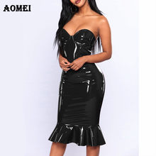 8d5dafd2715 Plus la Taille Tube Robe 2019 Sexy PVC Wet Look Cuir Robes Femmes Rouge  Noir Fermeture