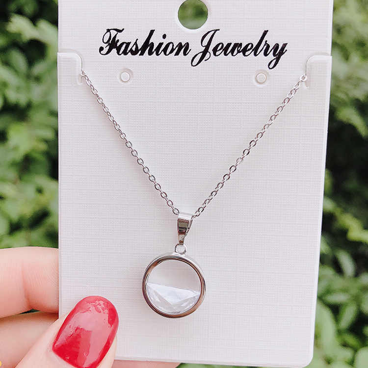Fashion Jewelry Simple Circle Necklace CZ Crystal Cubic Zirconia Gold & Silver Color Round Pendant Necklaces For Woman Bijoux