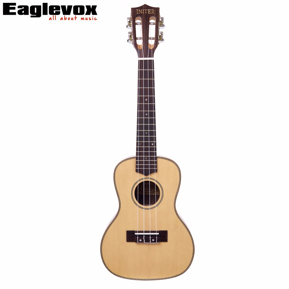 Initer Spruce Concert Ukulele 23 inch Solid Picea Asperata Top Rosewood Back&Side 17 Frets IUC-690 12mm waterproof soprano concert ukulele bag case backpack 23 24 26 inch ukelele beige mini guitar accessories gig pu leather