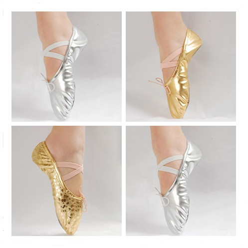 New Girls Adult Pointe Gymnastics Sequins Faux Leather Ballet Shoes Gold Sliver Women Kids Girl Falt Soft Sole Dancing Shoes