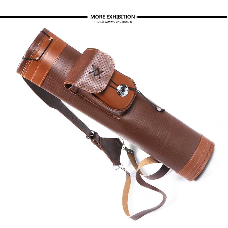Traditional Real Genuine Leather Archery Quiver Portable Pouch Shoulder Belt Bag Carrying For Outdoor Archery shooting Hunting
