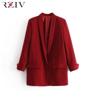 Image 3 - RZIV ผู้หญิง blazer สูทแจ็คเก็ตเสื้อลำลองสีทึบเดียวเสื้อ OL blazer สูท