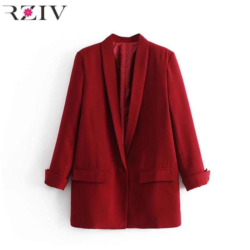 Image 3 - RZIV Женский блейзер, пиджак, пальто, повседневный Одноцветный пиджак на одной пуговице, OL Блейзер, костюм-in Пиджаки from Женская одежда on AliExpress