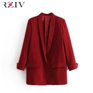 Image 3 - RZIV Женский блейзер, пиджак, пальто, повседневный Одноцветный пиджак на одной пуговице, OL Блейзер, костюм