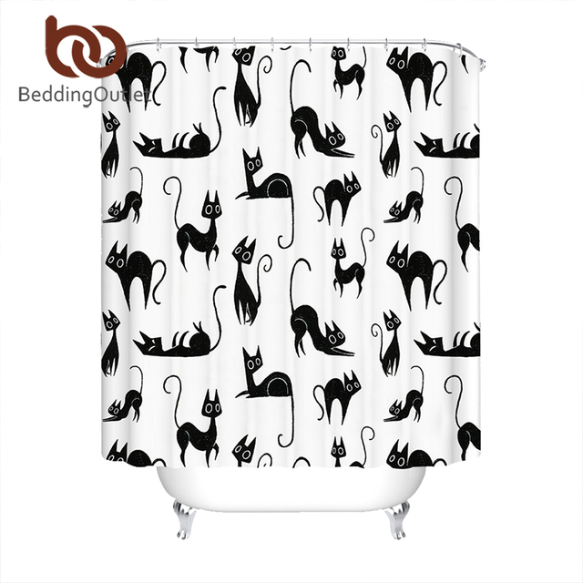 BeddingOutlet Cartoon Cats Shower Curtain Waterproof Polyester Bathroom  Kids Curtain With Hooks Animal Black White Home