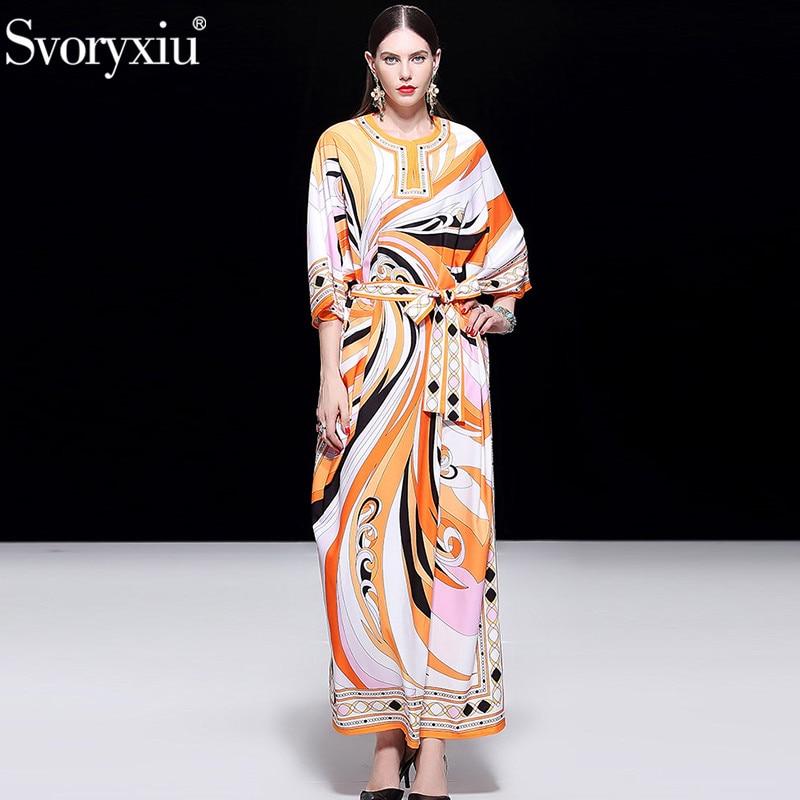 Svoryxiu Designer Autumn Winter Maxi Long Dress Women's Fashion Orange Geometric Printed Robe Loose Big Size Floor Length Dress