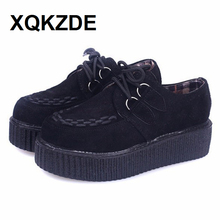 XQKZDE 2018 Platform Creepers Shoe Plus Size 35-41 Women Lace-up Artificial Leather Shoes Zapatos Mujer Flats VIVIAFX01