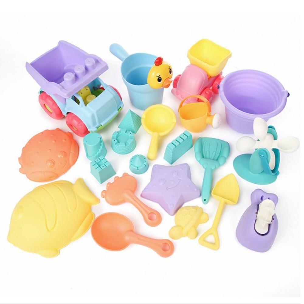 Children Beach Toys Sandbox Sand Set Toy Beach Cube Sand Eco Friendly Colorful Castle Bucket PC\PVC Shovel Car Toys For Kinetic