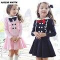 2017 Winter Children's Wear Bow Long Sleeve Princess Girl Dress Peter Pan Collar Design Girls Clothes