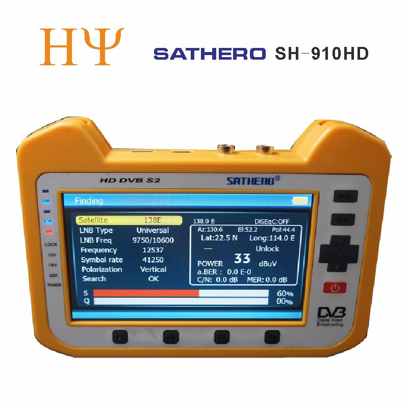 [Genuine] Sathero SH-910HD DVB-S2 Digital Satellite Finder Meter Satfinder HD with Real Time Spectrum Analyzer Function 7 inch dvb s2 sathero sh 900hd satellite meter finder cctv in hd spectrum analyzer coaxial digital monitoring test function vs sh 910