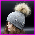 Winter Female Knitted Beanies With Pearl 100% Real Raccoon 15cm Fur Pompom Hats For Women Crochet Hat