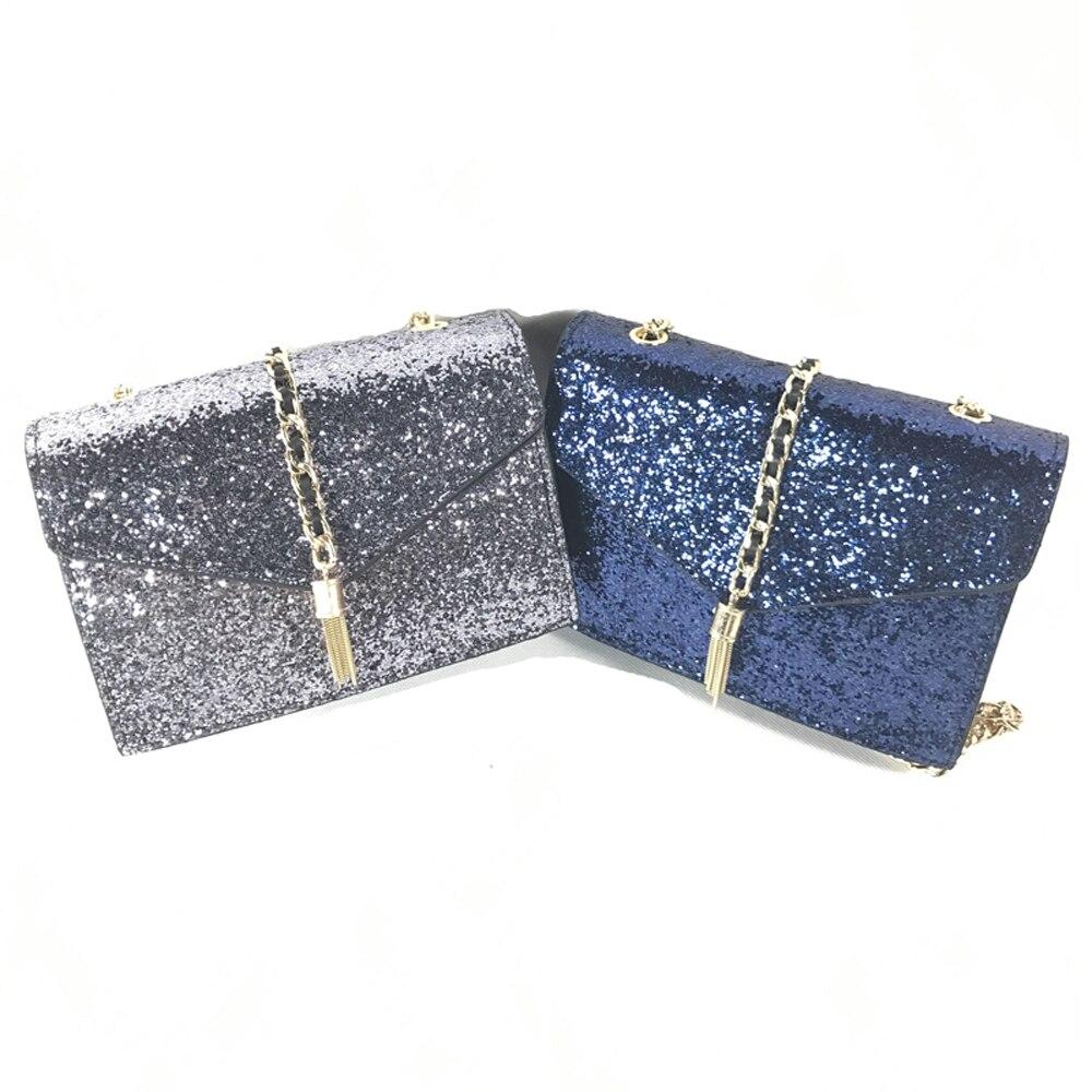 Frauen kleine Umhängetasche Shiny Pu-Leder Handtaschen Quaste Tasche Frauen Kette Tasche Crossbody blau Silber Flap Frauen Messenger Bag 12