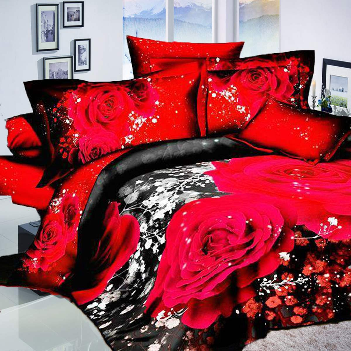 online get cheap modern red bed aliexpresscom  alibaba group - cotton red rose wedding gift pcs d flower beddin