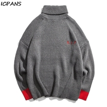 ICPANS Turtleneck Sweater Men Casual Streetwear Hip Hop Loose Mens Pullovers Spring Autumn 2019 New Fashion Cotton