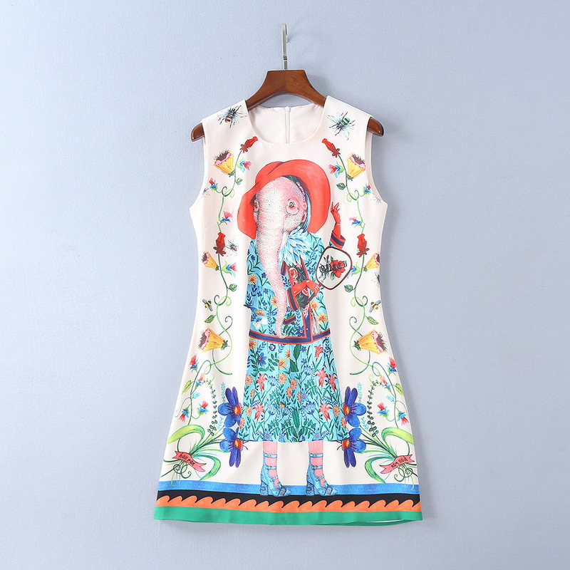 2018 весна/лето три Цвет o Средства ухода за кожей шеи без рукавов слон Цветочный принт женское платье того же бренда Стиль Vestidos De Festa 3204