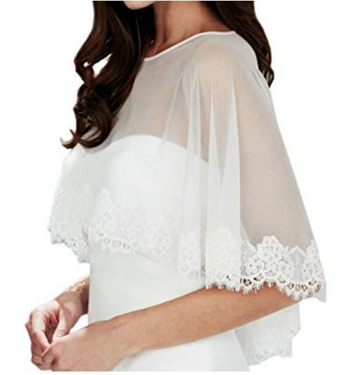 Ivory Wedding Bolero Chiffon Vintage Capes Simple Plus Size Bridal Coak Jacket Lace Edged Round Collar Color Available
