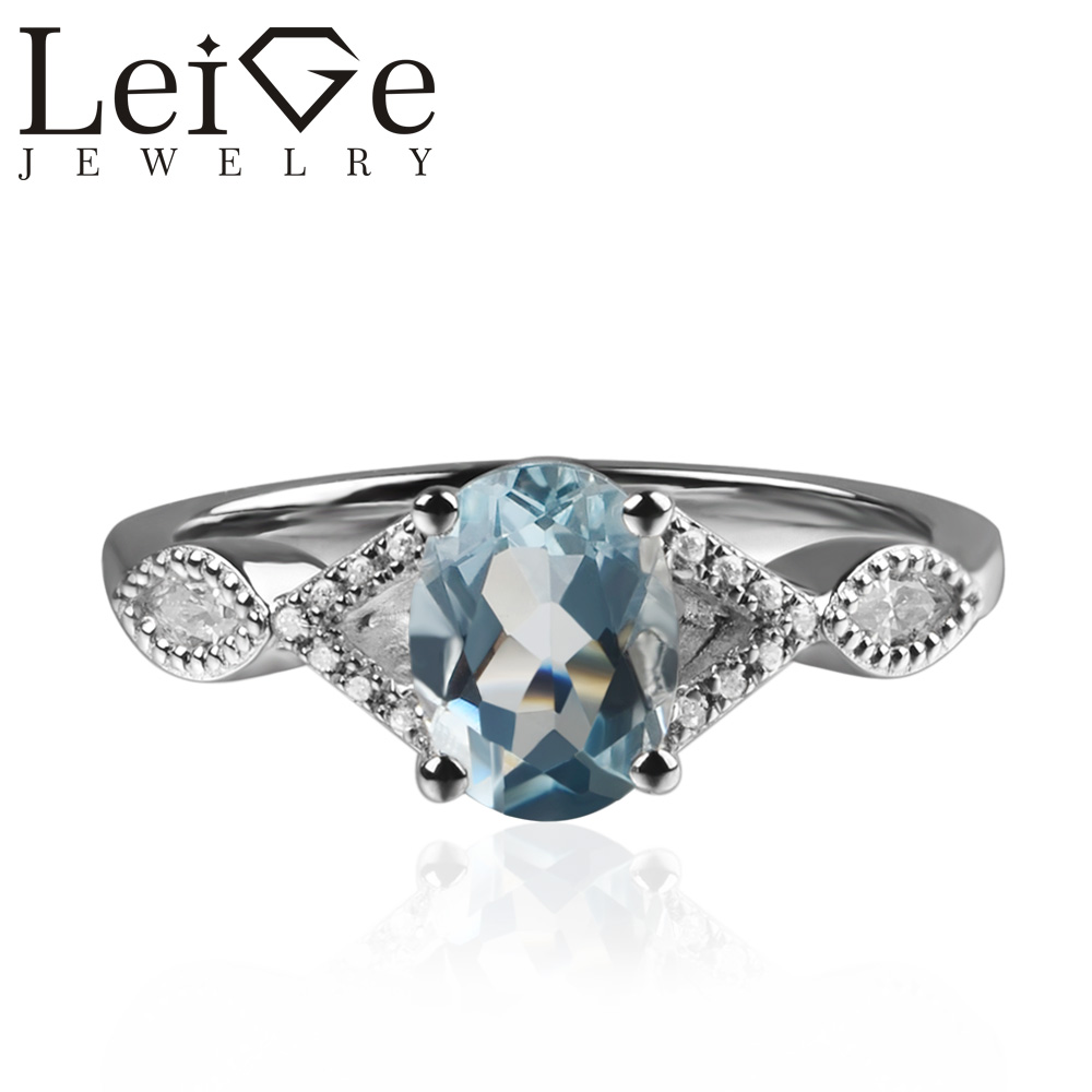 925 Silver Real Aquamarine Ring Oval Cut Blue Gemstone Promise Wedding Rings for Women Anniversary Gift March Birthstone