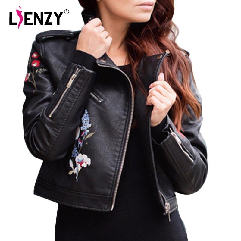 Women Embroidered Moto Flower Jacket Embroidery Black rose jaune Noir bleu Faux Lienzy Leather Coat qaXAFZ
