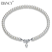 Fashion Natural Freshwater Pearl Necklace Pendant Jewelry Wedding 925 Sterling Silver Pearl Necklace Women Birthday Anniversary