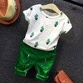 NUEVA ropa de los niños conjunto cactus impresa muchachos fijan sistemas del bebé corto t shirt + pants 2 unids ropa fijada los niños traje de moda para 2-7 T