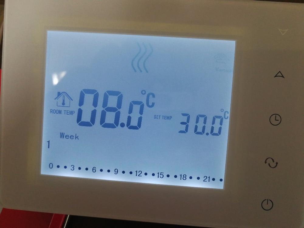 Wireless touch screen programmable gas boiler thermostat valve radiator linkage controller weekly programmable room thermostat wifi app for gas boiler underfloor heating