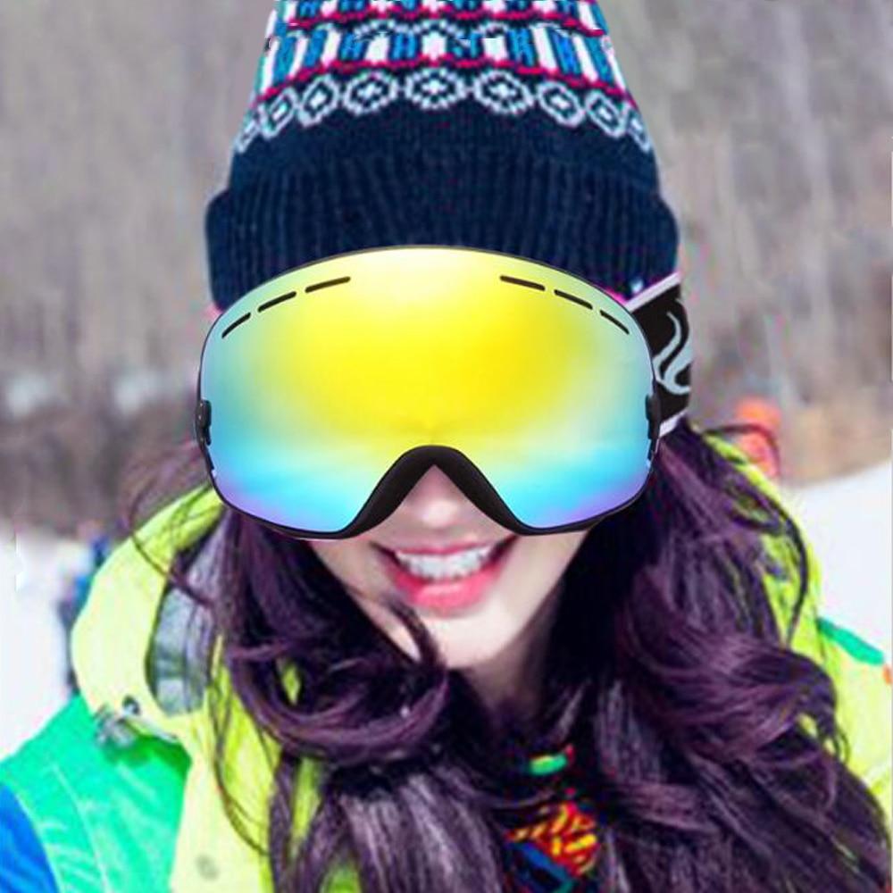 ФОТО New Skiing Eyewear Double Anti-Fog Ski Goggles Large Spherical Lens Anti-UV Protect Sports Motocross Snowboard