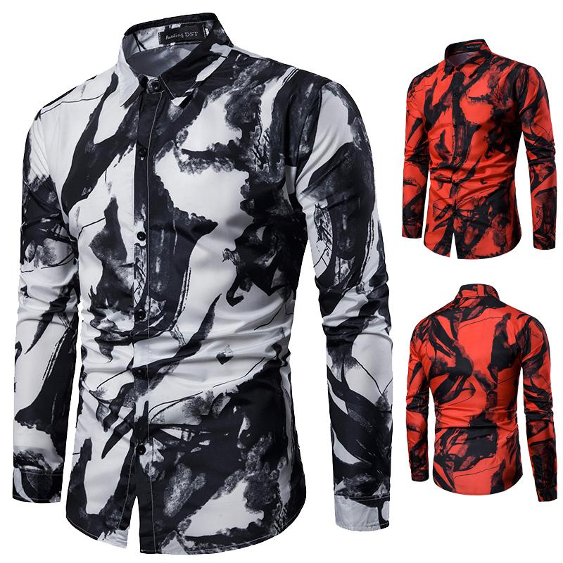 Casual Mens Shirts Long sleeve Shirt Men Slim fit Fashion ink printing Blouse Mens clothing Turn down collar New in Casual Shirts from Men 39 s Clothing