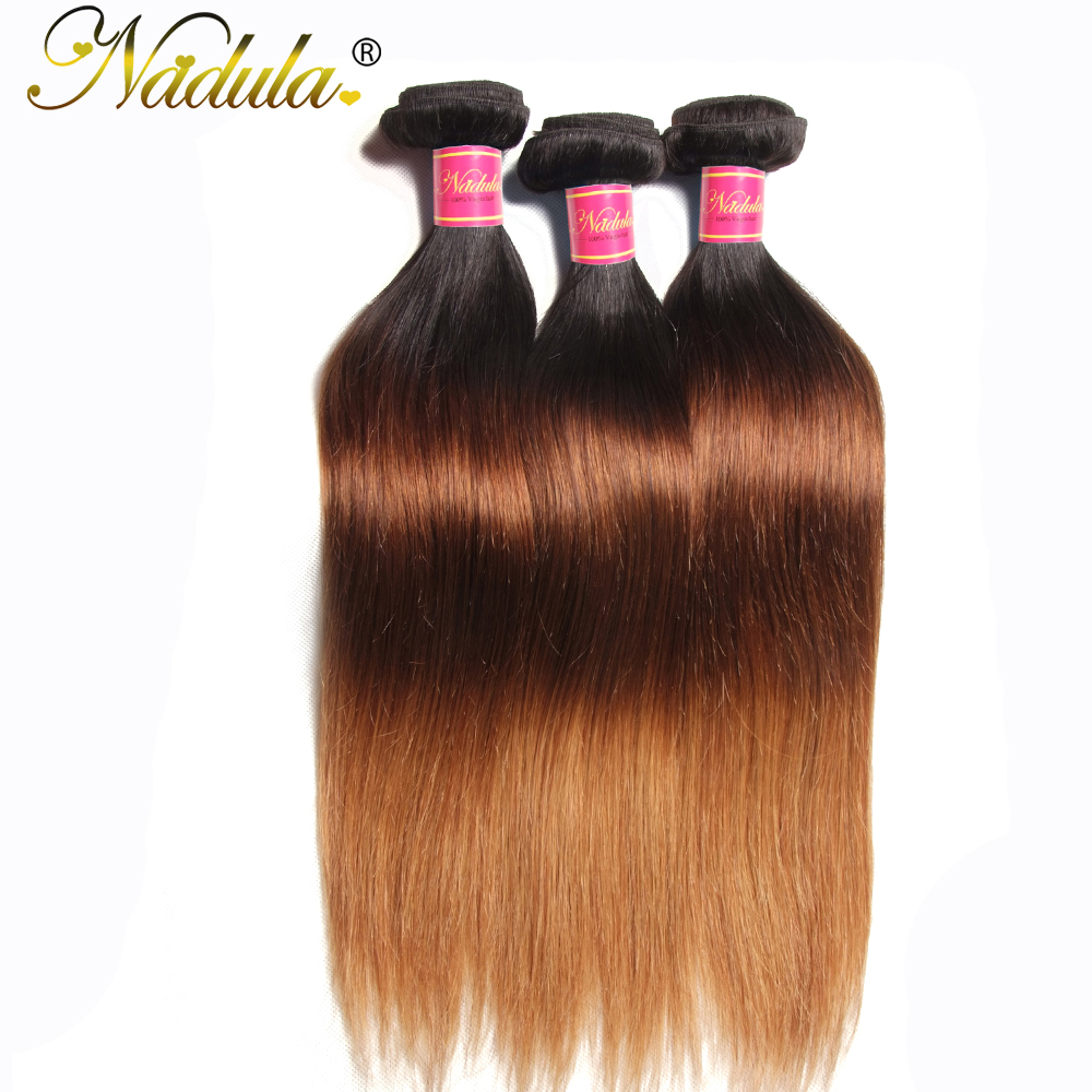 Nadula Hair T1B/4/27 Ombre  Straight Hair s 1Piece Can Be Mixed  Hair Bundles 100%  s 4
