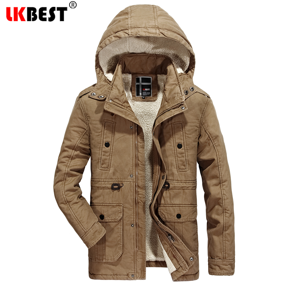 LKBEST New Long Winter Jacket Men Warm Cotton Coat Male Overcoat Adjustable Waist Plus Size wool liner Thick Men Parkas (PW639) 2016 new long winter jacket men cotton padded jackets mens winter coat men plus size xxxl