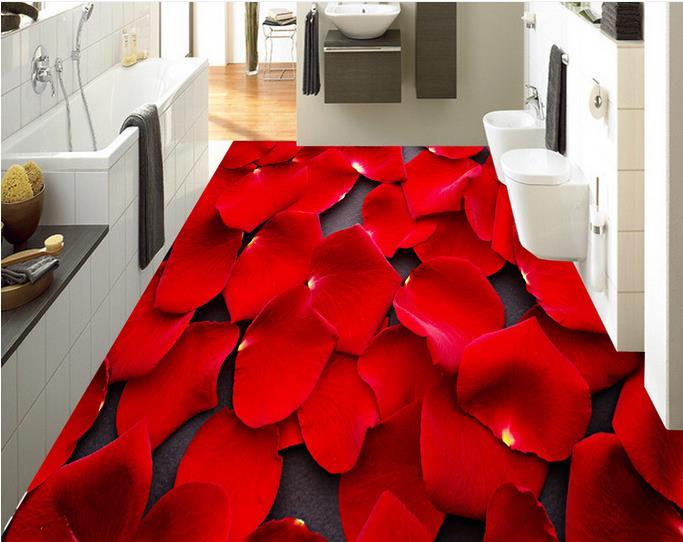 3d vloeren foto behang romantische rozenblaadjes 3d vloer schilderen