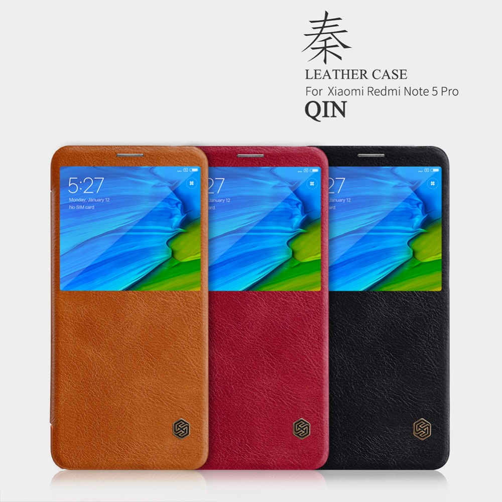 For xiaomi redmi note 5 pro case Nillkin vintage Qin PU leather hard plastic back cover wallet for Redmi Note 5 pro cover case