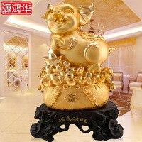 Resina artigianato ornamenti regalo accessori decorazione della casa diretta della fabbrica galvanotecnica oro Fu alta Caiwang ornamenti di suino