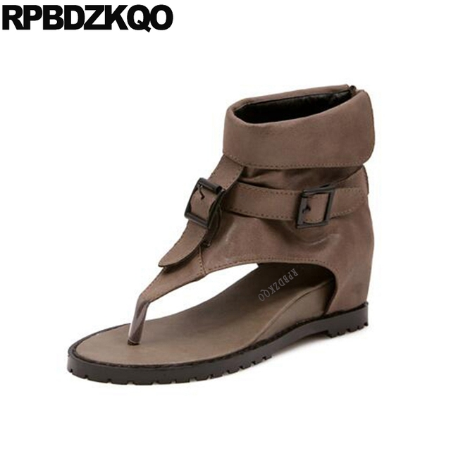 98604d7a2a0 US $40.91 36% OFF|Cheap 2017 Booties Sandals Height Increased Shoes Metal  Hidden Brown Wedge Summer Short Open Toe Women Ankle Boots Back Zipper-in  ...