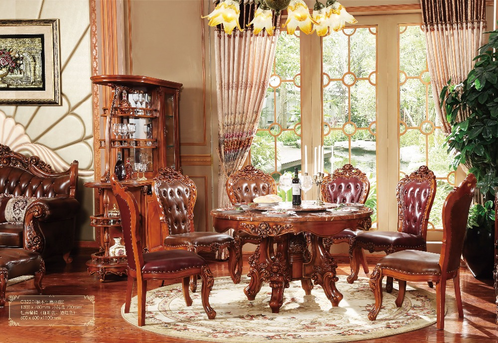 Baru Klasik Ruang Makan Furniture Kayu Ukiran Meja Dinning Set Type Dining Room