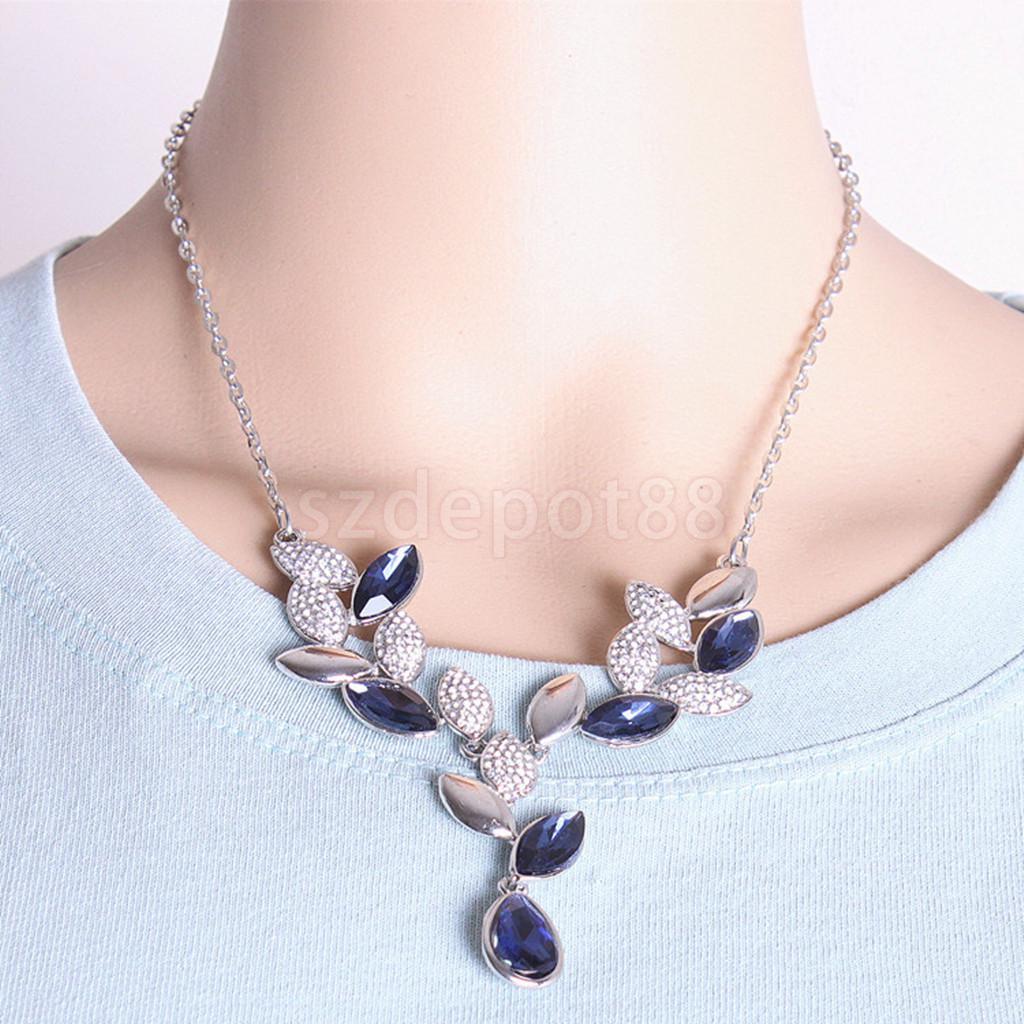 ᓂWedding Accessory Banquet Leaf Crystal Earrings Necklace Bridal ...