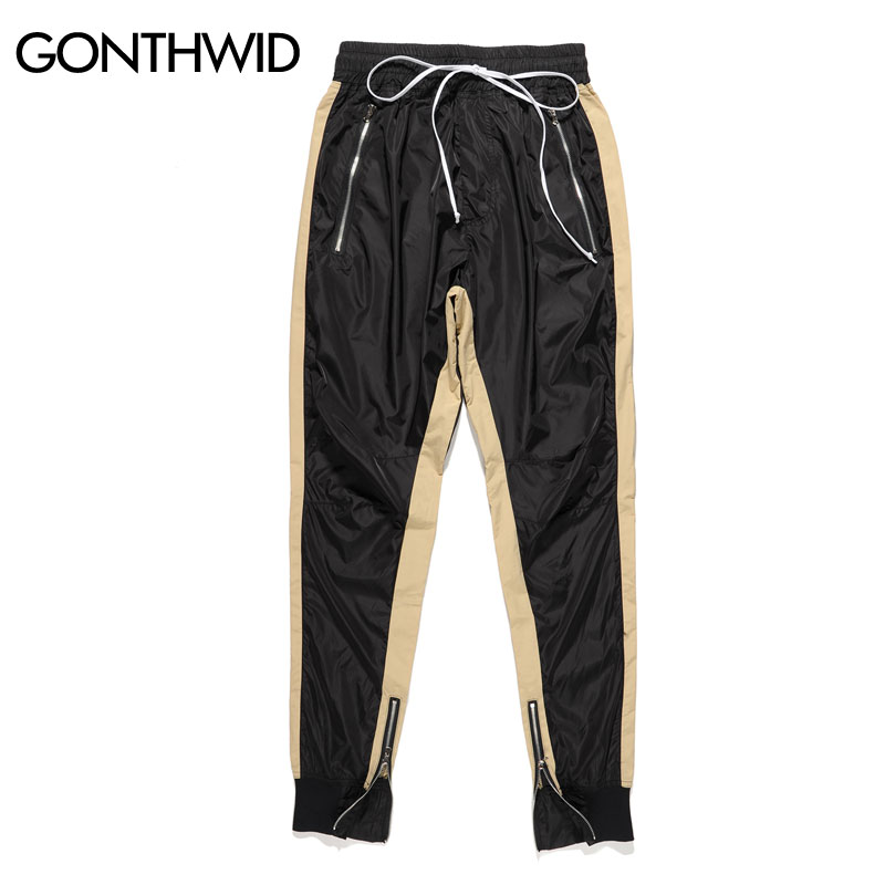 84dce15c2482 GONTHWID Zipped Ankle Track Pants Mens 2017 Fashion Urban Jumpsuit Joggers  Trousers Male Hip Hop Stripe Sweatpants High Quality-in Harem Pants from  Men s ...