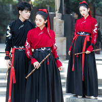 Red Hanfu Dress For Adult Women Men Ancient Knight Errant Han Dynasty Costumes Folk Dance Cosplay Hero Stage Costumes BL1247