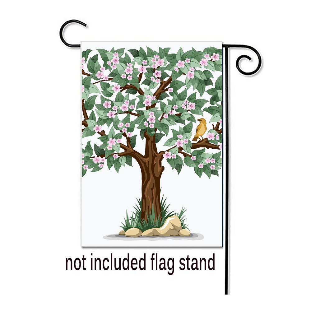 Welcome Spring Garden Flag Tree Design Pringing Decorative Outdoor And Indoor Flags 100 Polyester Yard Banner Flags Banners Accessories Aliexpress