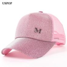 USPOP 2018 العلامة التجارية الجديدة للمرأة بريق قبعات البيسبول الصيف المرأة إلكتروني M شبكة قبعة بيسبول عارضة قابل للتعديل شبكة قناع قبعة