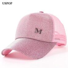 USPOP 2018 Gloednieuwe vrouwen glitter baseball caps Zomer vrouwen brief M mesh baseball cap casual verstelbare mesh vizier cap