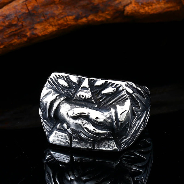 BEIER fashion unique God lucky hand punk man ring 316l stainless steel funny design rock biker jewelry party gift BR8-613