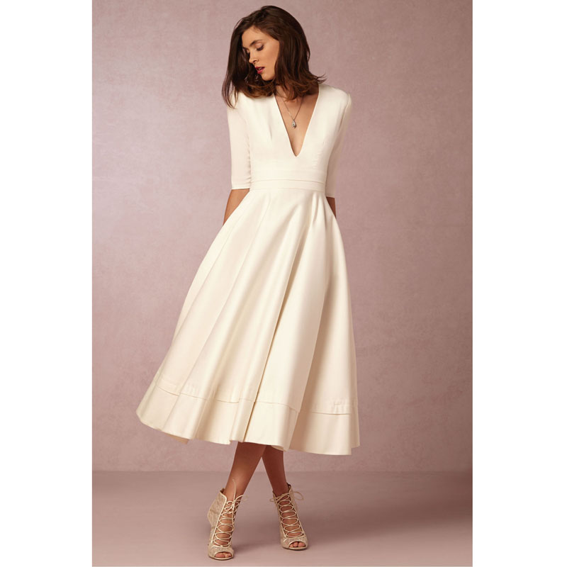 U-SWEAR 2019 New Arrival A-Line   Prom     Dresses   Ivory V-Neck Half Sleeves Tea-Length Plus Size Cheap Wedding Guest Gowns