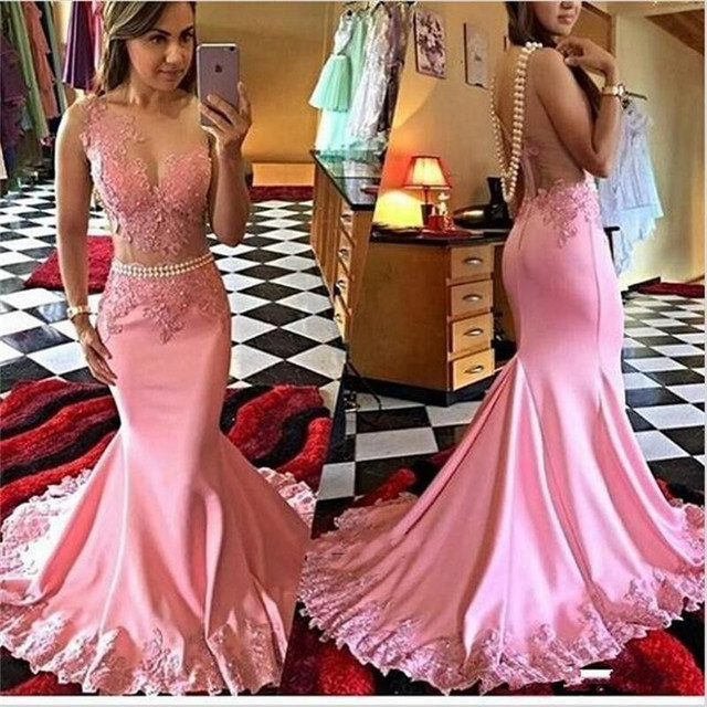 750afb657d Blushing Pink Mermaid Long Prom Dresses 2019 Sleeveless Lace Satin Sweep  Train Seniors Formal Prom Party Gowns Sexy Sheer Back