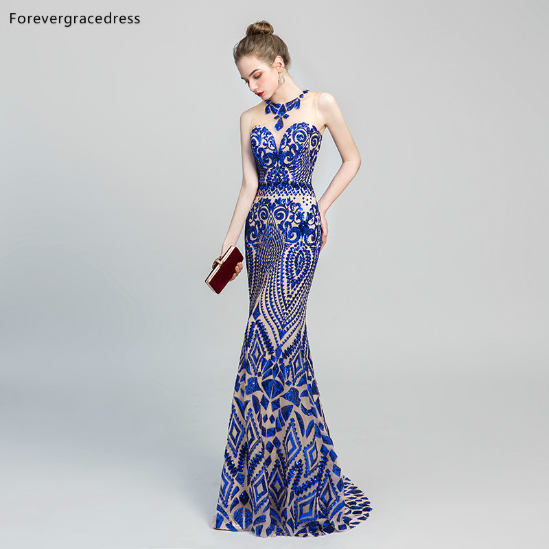 Forevergracedress Actual Images New Design Blue   Evening     Dresses   2019 Sleeveless Long Formal Party Gowns Plus Size Custom Made